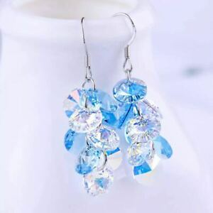 Boho Tassel Colourful Beads Drop Earrings Crystals From Swarovski Xmas Gifts NEW