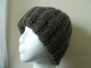 Hand knitted warm 100% natural rustic country wool beanie/hat, dark gray, men's