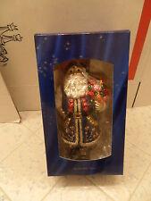 EDWARD BAR GLASS CHRISTMAS ORNAMENT SANTA MADE IN POLAND SWAROVSKI CRYSTAL