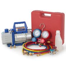R134a Auto Car 4CFM 1/3HP Vacuum Pump, Dual Gauge A/C Diagnostic Manifold Tester