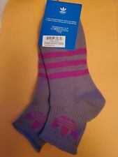 Adidas quarter socks. large gray with purple stripes