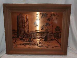 Vintage copper etched print Wrest Point Casino, Tasmania. clarrisa giftware