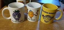 Mr Men, Little Miss Mugs. Tickle, Naughty, Sunshine. Unused.