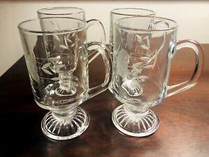 Set Of 4 x Princess House Tempered Crystal Coffee Mugs Tea Glasses Latte Juice