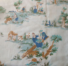 Antique Vtg. Pastoral French Village Cotton Fabric ~ Soft Blue Aqua Green Cobalt