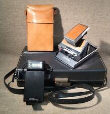 VTG POLAROID SX-70 Land Camera Leather Folding Instant Film + Case Flash Extras