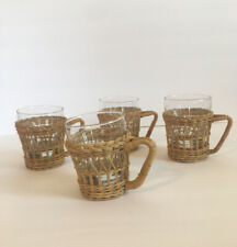 Vintage Wicker And Glass Coffee Cups Set Of 4 Rattan