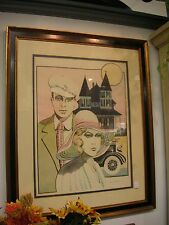 Vintage Couple by Turreted House & Car Signed Leslie Andrews - Artist for Vogue
