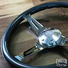 380mm Chrome Gray Steering Wheel Real Wood Grip 15 - 6 Hole C10 Chevy Blazer