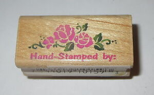 """Hand Stamped By Rubber Stamp Roses Flowers Wood Mounted 1.75"""" long"""