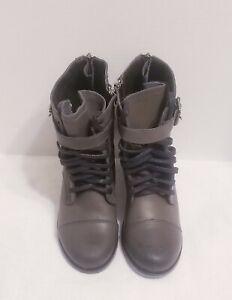DV Dolce Vita Grey Leather Side Zip Ankle Boots w/Buckle Women's Sz 7 1/2