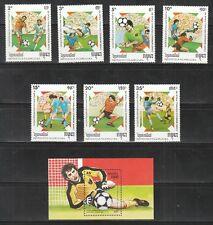DB 95) Kambodscha: Mi.-Nr.: 999/1005  u. Block 162**, Fußball! 2 Scans!