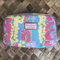 Lilly Pulitzer Estee Lauder Dragonfly Blue Pink Cosmetic Makeup Bag Organizer
