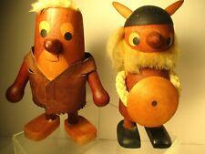 "2 Vintage Mid-Century Modern ARNE BASSE Denmark WOOD Figures~6.5"" high~VGC"