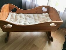 Vintage Solid Wood Baby Cradle And 100% Wool Mattrass