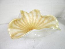 "MURANO ART GLASS VINTAGE WHITE YELLOW GOLD FLECKED DECORATIVE DISH 9 1/2"""