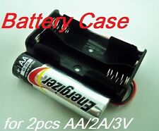 2 Lot of Battery Box Holder Case for 2 packs AA, 2A  3V Cell w/ 6'' Leads wire
