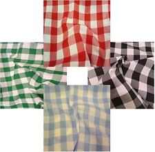 GINGHAM POLY COTTON CHECK TABLE CLOTH COVER - RED ORANGE GREEN BLUE MANY COLOURS
