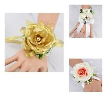 Fabric Flower Girl Bridesmaid Boutonniere Wedding Prom Party Wrist Corsage