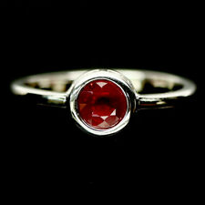 Sterling Silver Ring Sz 8.25 Natural 6 mm. Red Ruby 925