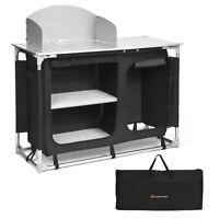 Portable BBQ Camping Grill Table Kitchen Sink Station w/ Storage Organizer Basin