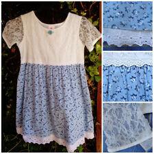 Vintage Niñas Vestido de Dolly Bebé Azul Floral Blanco Encaje Blusa Falda Completa De 5-6 años