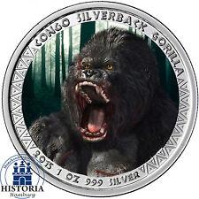 Kongo 5000 Francs Silber 2015 PL Silberrücken Gorilla Münze in Farbe