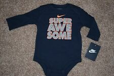 NEW BOY'S NIKE BLUE SUPER AWESOME ONE PIECE SIZE 0-3 MONTHS