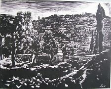 "ZVI ADLER ISRAELI PRINT OF A WOODCUT ""GOOD MORNING SAFED"" 1960"