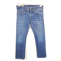 Replay Jeans Waitom Herren W32 L32 Blau Regular Slim Straight Faded Denim M983