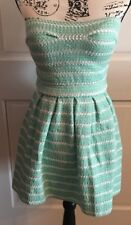 NWT Couture Sz Jr M Grn & Wh Stripe Stretch Strapless Short Summer Party Dress