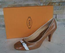 original Tods Muerte´s Zapatos de tacón Gr 37 Piel ternero marrón + blanco NUEVO