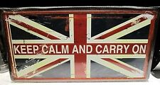 KEEP CALM & CARRY ON , NUMBER PLATE/ tag , 12X6 INCHES 30X15 cm UNION JACK SIGN