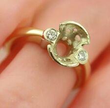 14k yellow white gold 3 stone diamond semi mount engagement ring 9x6mm oval