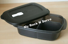 Tupperware Rectangular Crystalwave Microwave  Divided Black Color 4 Cups NEW !!!