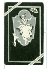 "Single Vintage Playing Card ""Lady/Dog/Parasol"" Art Deco Black"