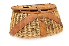 Vintage Fishing Creel Light Colored Wicker & Leather