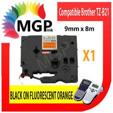 1x  Brother Compatible TZ-B21 TZe-B21 Black on Fluorescent Orange Tape 9mm 3/8″