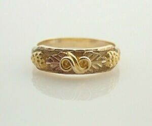 10k Solid Black Hills Gold Multi Colored Band Ring Sz 6