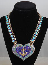 Betsey Johnson Gold ANCHORS AWAY Blue Tonal Pave' Large Heart Anchor Necklace