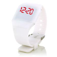 Digital Silikon LED Armband Uhr Armbanduhr Watch Herren Damen Kinder Sport Weiß