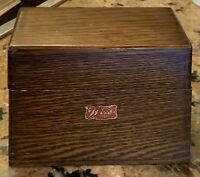 """Vintage Weis Oak Dovetailed Wooden Box 5.5"""" Wide X 4"""" Tall"""