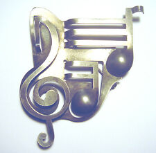 RARE Mid Century MODERNIST Sterling 925 REBAJES Musical Note SCULPTURE PIN 27/8""