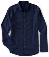 John Varvatos Star USA Men's Long Sleeve Clean Snap Front Oxford Shirt Night Sky