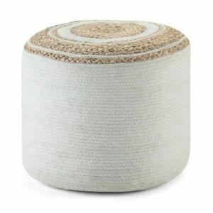 Pouf Cover Jute Cotton Hand Braided Ottoman Floor Decor Solid Living Foot Stool