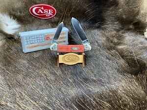 2005 Case Canoe Knife Laser Red Bone Scrolled Bolster Handles Mint In Box 32B