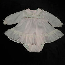 PRECIOUS VINTAGE ALEXIS BABY GIRLS L/S DRESS PLASTIC LINED DIAPER COVER SET 6 M