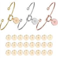 Knot Bracelets Capital Initial A-Z Letter Pendant Open Cuff Bangles for Women