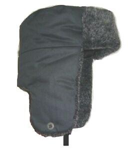 MENS RUSSIAN FAUX FUR TRAPPER HAT Grey Cossack Gents large warm winter Ushanka