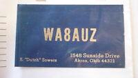 OLD VINTAGE QSL HAM RADIO CARD POSTCARD, AKRON OHIO 1966
